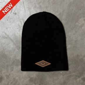 LEATHER V PATCH BEANIE
